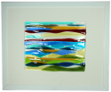 fused glass picture, abstract seascape