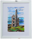 fused glass picture, Cornish engine house